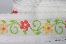 Vintage Sewing Embroidered Trim Border Flower Retro Bohemian 1.75 Yd MCM Orange