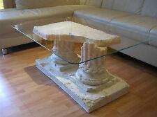 Griechischer Glastisch Couchtisch Steinmöbel Marmortisch Wohnzimmertisch Beige