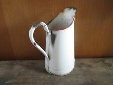 Ancien pichet à eau broc en métal émaillé vintage french antique enamel pot