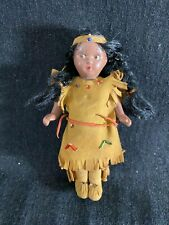 "Vintage Composition Native American Doll-5""- Beaded Suede Dress-VG- SALE"