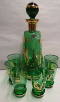 Vintage Bohemia Glass Czech Green Decanter & Glasses Gilt & White Pattern Labels