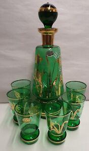 Vintage Bohemia Glass Czech Green Decanter & Glasses Gilt & White Pattern Labels