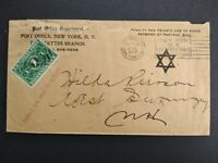 NY: NYC 1917 #JQ1 Penalty Cover to NY, Collect 1c on Delivery, Star of David