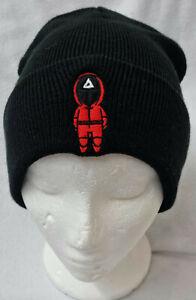 Squid Game Logo black knitted Ski beanie hat Christmas stocking filler gift Men