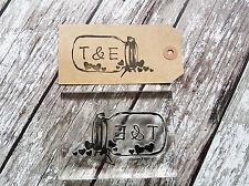 """Sello personalizado personalizado """"Mason Jar 'Bodas, Regalos Etiquetas Nombre y las iniciales de corazón"""
