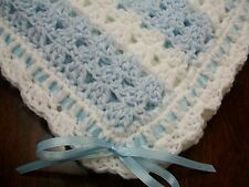 NEW Handmade Crochet Baby Blanket Afghan ( Blue White ) Newborn