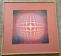 Vintage Victor Vasarely Op Art Lithograph Print Wall Hanging Mid Century Modern