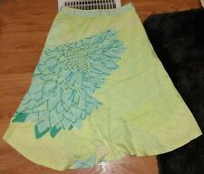 ODILLE ANTHROPOLOGIE YELLOW GREEN FLORAL HAWAIIAN FLARE A-LINE SKIRT EUC SZ 0 XS