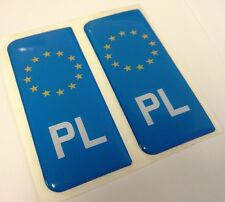 2x POLAND Polska Polish Euro Gel 3D Number Plate Side Badge Badges Stickers