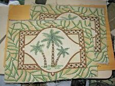 Set of 2 -Tropical Palm Trees Tapestry Pillow Fabric Pieces