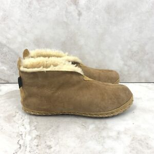 LL Bean Men 12 Slippers Wicked Good Brown Suede Shearling Lined Bootie