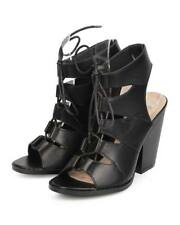 New Women Nature Breeze Webber-02 Leatherette Gilly Tie Block Heel Sandal Size