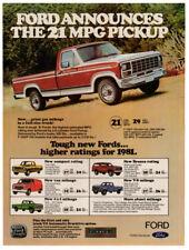 1981 FORD Ranger F-150 Pickup Vintage Original Print AD - Red truck photo 21 mpg