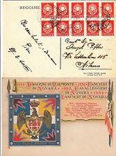 CARTOLINA LANCIERI NOVARA-Blocco dieci 2c IMPERIALE-Verona->Milano 27.3.1940