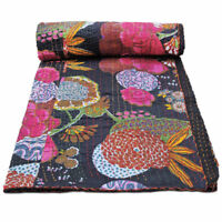 Black Kantha Quilt Indian Twin Size Bedspread Handmade Vintage Kantha Throw
