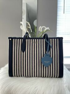 New Kate Spade Market Stripped Medium Canvas Blue/Beige Tote Great Gift