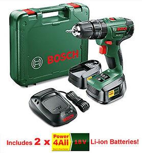 Bosch 18v Lithium-Ion Cordless Combi Drill 2 x Batteries + Charger PSB 1800 LI-2