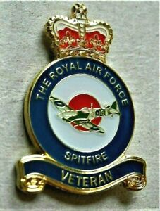 BRAND NEW MILITARY ARMY ENAMEL BADGE RAF SPITFIRE VETERAN REMEMBRANCE POPPY DAY