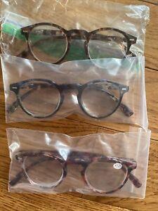 Set Of 3 Rounded Frame Fashion Reading Glasses +1.25