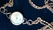 Vintage Sterling Silver Designer Moschino Men's Pocket Watch w SS Fob Chain OMG!