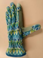 Digz Women's Small Turquoise Garden Gloves Nylon Fabric Leather Touchscreen Tips