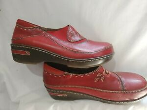 L'Artiste Burbank Womens Red Leather Clog Size R 41