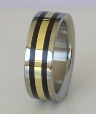 Exotic African Black Wood Wedding Band Pure Tungsten & 14kt Yellow Gold Sz 4-17