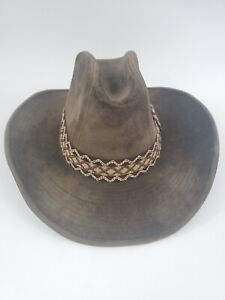 YA Western Cowboy Hat Faux Suede Brown With Band Size Small 6 3/4-6 7/8