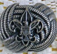 VINTAGE BSA BOY SCOUTS OF AMERICA Neckerchief Tie Slide Holder Embossed Metal