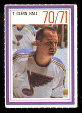 1970-71 ESSO POWER PLAYERS NHL #1 GLENN HALL EX-NM ST LOUIS BLUES UNUSED STAMP