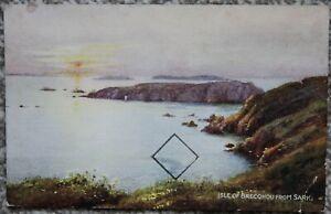 Isle of Brecqhou from Sark 1950 Postcard Artist C.G Blampied Channel Islands CI