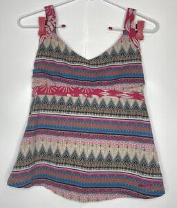 PATAGONIA Women Geometric Tribal Print Athletic Yoga Halter Pink Gray Top Medium