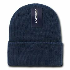 Navy Blue Watch Cap Beanie Knit Winter Stocking Hat Stretch Snowmobile Decky