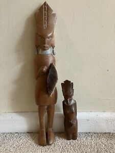VINTAGE 2 WOODEN AFRICAN/TRIBAL FIGURES WITH NECK BRACE &