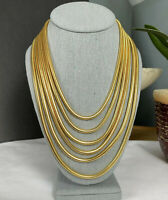 Joan Rivers Necklace Gold Tone Multi Snake Strand Layered  17inch 3in Ext Chain