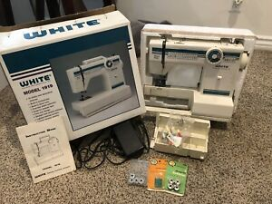 White Sewing Machine Model 1919 Embroidery+ Accessories w/ Box Barely Used