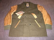 PRPS Mens Green Jacket Leather Sleeves Size M