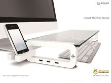 UBoard Smart Monior Ständer Computer Riser Pinth Display Clear 3 Port USB 2.0 Hub