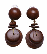 LADIES RUSTIC INSPIRED BROWN TRIBAL THEME LARGE STONE CLIP ON EARRING(ZX11)