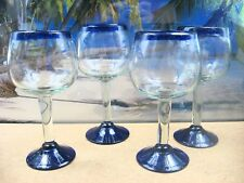 4 FREE BLOWN THICK GLASSES WITH DEEP COBALT BLUE RIM AND BASE AND AIR BUBBLES