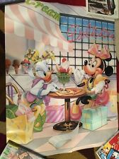Vintage Disney Minnie Mouse and Daisy Duck Ice Cream Parlor Wall Poster 1986