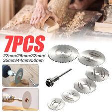 7 PCS Cutting Discs Mandrel HSS Rotary Circular Saw Blades Tool Cutoff 22-50mm