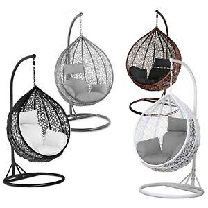 Rattan Effect Garden Hanging Egg Swing Chair Relaxing Patio Hammock w/ Cushions