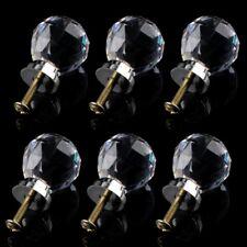 6 x Cristal Verre Clair Boutons / Poignees de Porte 30mm Tiroir Cuisine Argent J