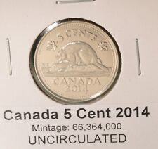 2014 Canada 5 Cent - UNCIRCULATED from Mint Roll 🇨🇦