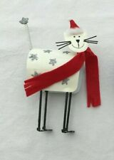 Happy Christmas Cat Metal Ornament With Festive Red Hat & Scarf NEW JC190
