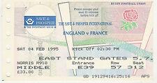 ENGLAND v FRANCE 4 Feb 1995 RUGBY TICKET GRAND SLAM SEASON FOR ENGLAND