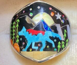 Old Opal Turquoise Wolf Coyote Mountain Scape ring Pictorial Ring Men's 11.5 w
