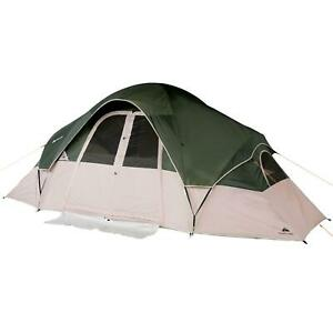 8-Person 2-Room Modified Dome Tent 4 Windows and Mesh Ceiling w/ Roll Back Fly