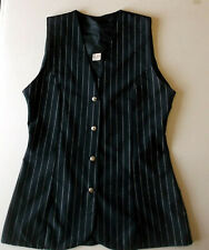 Ladies longer Waistcoat Tunic top Size 10 Black with ivory stripe Unlined WW2